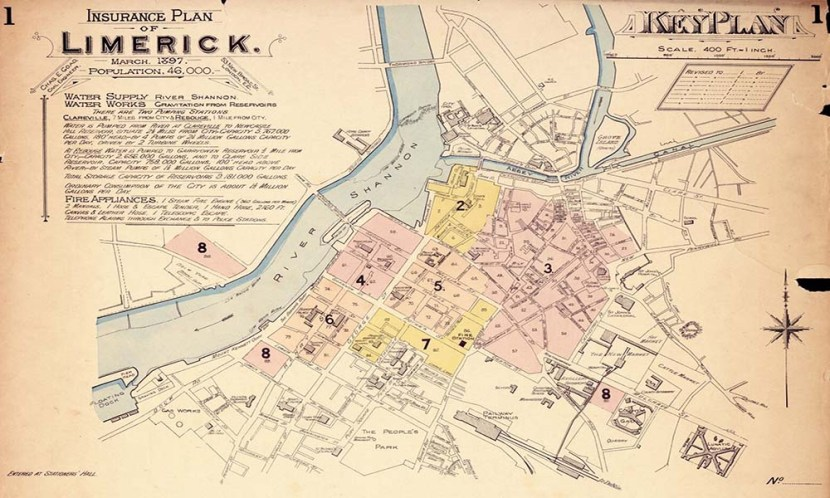 A coloured insurance Map of Limerick City Centre from 1897 by Goad